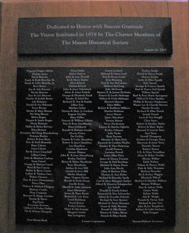 Plaque containing the names of the charter members of the Mason Historical Society